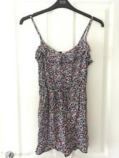 H&M Black Pink Floral Summer Strappy Mini Dress Long Top Size 8 Ruffle Detail