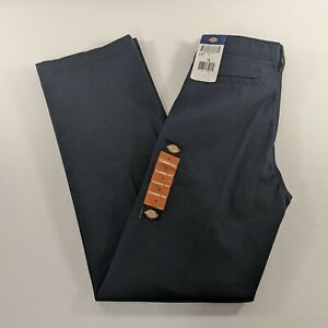 Dickies Boys Classic Fit Straight Leg Flat Front Blue Adjustable Pants Size 14