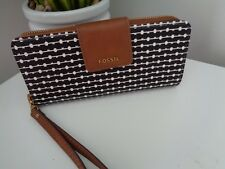 Fossil Madison Black/White Pattern Zip Around Large Clutch Purse Wallet Wristlet