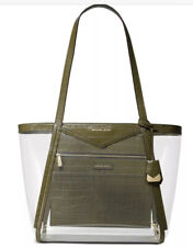 New Michael Kors Whitney shoulder bag clear inset olive gold tote X Lrge plastic