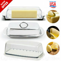 Double Butter Dish Covered with Lid Clear Stainless Steel Tray Serving Dish NEW