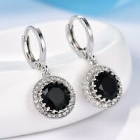 Lady Brilliant Round  Cut Black Topaz 18K White Gold Filled Dangle Drop Earrings