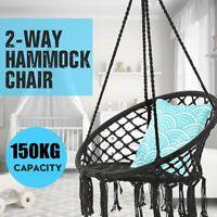 330 lbs Hammock Chair Swing Hanging Rope Cotton Round Macrame Indoor Outdoor US