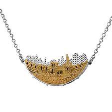 Judaica Sterling Silver Gold Skyline Jerusalem Of Gold Arc of Noah Shape Pendant