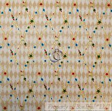 BonEful Fabric Cotton Quilt Brown Tan Red Green Gold Metallic Diamond Star SCRAP
