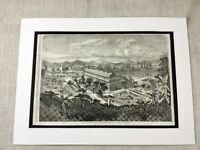 1856 Print Old Hong Kong Harbour Port Landscape Original Antique