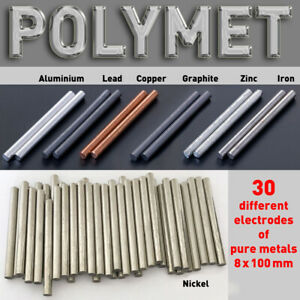 Pure Metal Round Bar for Electroplating, min. 99.9, Anode Dia. 8 x 100mm Element