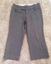MOSSIMO Womens Size 2 Gray Pinstriped Dress Pants Slacks Career Cropped Capri