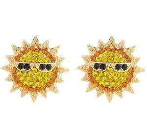 Summer Emoji SUNSHINE Rays SUN Glasses Golden Rhinestone Betsey Johnson Earrings