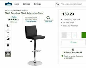 Flash Furniture Black Adjustable Stool Model # 847254065917