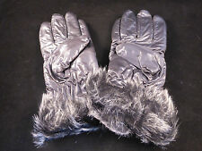 Beautiful Ladies Faux Leather & Fur Trimmed Insulated Gloves - 6 Designs- Medium