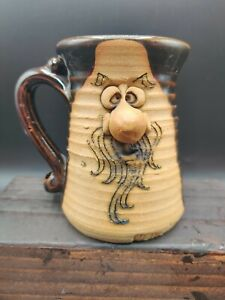 3D HANDCRAFTED 1974 Peter Petrie Mountain Man Clay Face Pottery Funny Coffee Mug