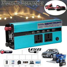 Power Inverter 1500W Charger Adapter Car Auto Truck DC 12V to AC 220V Converter