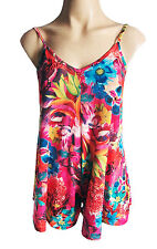 BOOHOO Women's shorts Floral PLAYSUIT bright pink UK size 10/12 NEW with tags