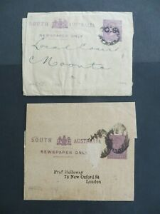 (P103) South Australia 2 P.S. used wrappers - one O.S. to court & other to UK
