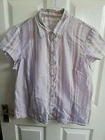 WOMENS PINK WHITE STRIPED SHIRT BLOUSE SIZE 16 PIT TO PIT 21 SHORT SLEEVE