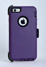 Rugged Case For iPhone 6 iPhone 6s Belt Clip Fits Otterbox Defender Purple/Black