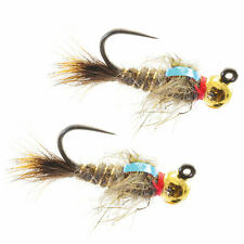 Umpqua Jigged Hare's Ear Tungsten Gold Bead 2 Pack Nymph Fly Fishing Flies