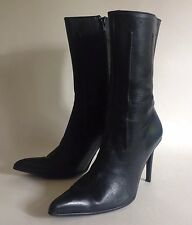 "FREE PASS Black Leather Calf Length Sexy 3.75"" High Heel Boots Size UK 3 EU 36"