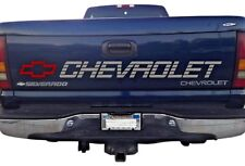 Silverado Bed Tailgate Sticker Decal  Chevrolet 1500 Bow Silver & Red Lettering