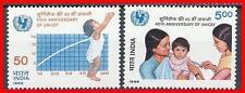 INDIA 1986 CHILD SURVIVAL CAMPAIGN / MEDICINE / NURSES SC# 1132-33 MNH  (E15-1)