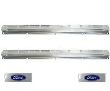 65 66 67 68 Ford Mustang Convertible Door Sill Scuff Plates Pair w/ Ford Decals