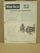 Wheel Horse Wt-30 Tow Behind Tiller, Assembly Operators And Parts List Original!