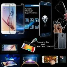 Tempered Anti-Explosion Glass Film Screen Protector Slim TPU Case For Samsung