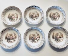 6 BERRY BOWLS  Currier & Ives Royal Monach First Quality China 22kt GOLD