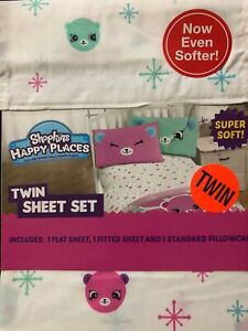 Shopkins Twin Sheet Set Happy Places 1 Flat 1 Fitted 1 Standard Pillowcase