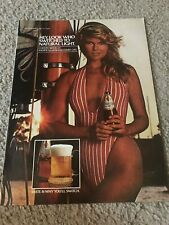 Vintage 1980 Christie Brinkley Swimsuit Natural Light Beer Poster Print Ad Rare