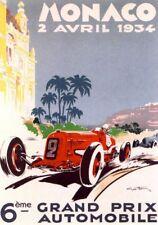 VINTAGE 1934 Sports Car Monaco Grand Prix MOTOR RACING POSTER A4 RISTAMPA