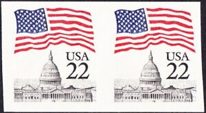 US - 1985 - 22 Cents United State Flag Over Capitol Imperf Pair #2115f Mint NH