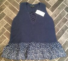 BNWT Size 12 NEXT Mid Blue Knitted Vest / Tunic Top With Daisy Detail - Holiday