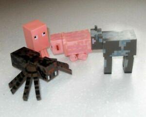 Minecraft 4 Figures Toy Bundle Dog Pig, Spider & Another One