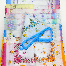 Lot 5-30Pcs Lady Child 100% Cotton Flower Vintage Handkerchiefs Quadrate Hankies