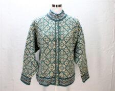 VTG LLBean wool sweater blue green beige knit nowegian button cardigan womens M