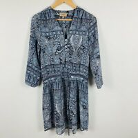 Kachel Womens Dress Size 8 Blue Paisley Long Sleeve Tie Waist Pure Silk Boho