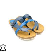 Echtleder Damen Sandalen Pantoletten Leder Fußbett Kork-Sohle Sommer Schuhe blau