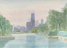 """Chicago from the Lagoon"" (Sears Tower) - William Benecke - Original Watercolor"