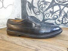 Vntg Florsheim Imperial Black Pebbled Leather Wing Tip 5 Nail Oxfords Men's 10A