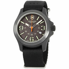 VICTORINOX Swiss Army 241593 Mens Gray/Black 1-Piece Nylon Strap Watch NEW!