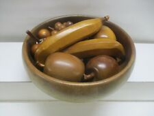 VINTAGE MID CENTURY WOODEN FRUIT BOWL WITH WOODEN FRUIT BANANA GRAPES MORE