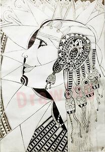 Original Drawing 15.5 x 22.5 inch Art ancient Egypt women