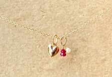 """Ruby Pearl Heart Necklace 16"""" chain adorable elegant dainty July birthstone 14k"""