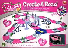 163 Pcs Flexible Track Set With B/O Pink Car Interactive Kids Toy Best Gift Toy