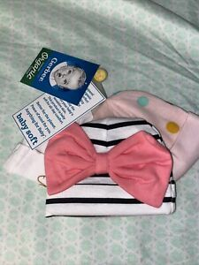 Gerber Baby Girl Hat Caps Size 0/6 Months 3 Pack!