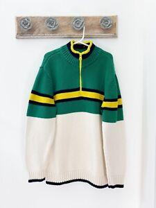 Gap Kids Boys Green/ Cream/ Yellow/ Blue Stripe Long Sleeve Sweater Youth Large