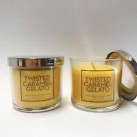 2 Bath & Body Works Home Twisted Caramel Gelato Medium Scented Candle 4 oz New