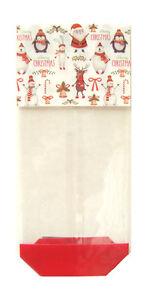 10 x CHRISTMAS SANTA SNOWMAN Gift Bag Block Bottom Clear Cello Sweet Treat Bag